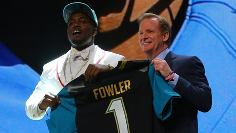 Apr 30, 2015; Chicago, IL, USA; Dante Fowler Jr. (Florida) poses for a photo with NFL commissioner Roger Goodell after being selected as the number third overall pick to the Jacksonville Jaguars in the first round of the 2015 NFL Draft at the Auditorium Theatre of Roosevelt University. Mandatory Credit: Dennis Wierzbicki-USA TODAY Sports