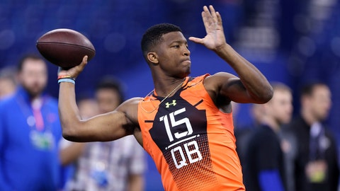 Feb 21, 2015; Indianapolis, IN, USA; Florida State Seminoles quarterback Jameis Winston throws a pass during the 2015 NFL Combine at Lucas Oil Stadium. Mandatory Credit: Brian Spurlock-USA TODAY Sports