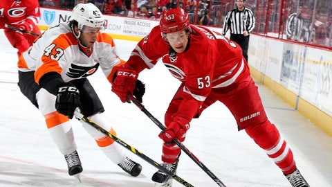 RALEIGH, NC - APRIL 04: Jeff Skinner #53 of the Carolina Hurricanes and Brandon Manning #43 of the Philadelphia Flyers battle for the puck during their NHL game at PNC Arena on April 4, 2015 in Raleigh, North Carolina.  (Photo by Gregg Forwerck/NHLI via Getty Images)
