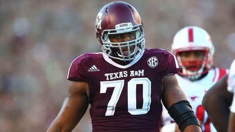 Sep 21, 2013; College Station, TX, USA; Texas A&M Aggies offensive tackle Cedric Ogbuehi (70) against the SMU Mustangs at Kyle Field. Mandatory Credit: Mark J. Rebilas-USA TODAY Sports