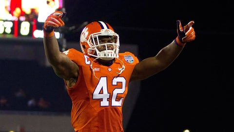 Dec 29, 2014; Orlando, FL, USA; Clemson Tigers linebacker Stephone Anthony (42) celebrates during the second half of the 2014 Russell Athletic Bowl at Florida Citrus Bowl against the Oklahoma Sooners. Mandatory Credit: Joshua S. Kelly-USA TODAY Sports