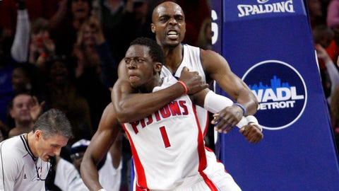 Apr 4, 2015; Auburn Hills, MI, USA; Detroit Pistons guard Reggie Jackson (1) and forward Anthony Tolliver (43) celebrate after the final buzzer against the Miami Heat at The Palace of Auburn Hills. Pistons beat the Heat 99-98. Mandatory Credit: Raj Mehta-USA TODAY Sports
