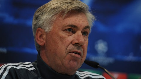 MADRID, SPAIN - APRIL 21:  Head coach Carlo Ancelotti of Real Madrid answers a question during his press conference at Valdebebas grounds ahead of the UEFA Champions League Quarter Final, Second Leg match on April 21, 2015 in Madrid, Spain.  (Photo by Denis Doyle/Getty Images)
