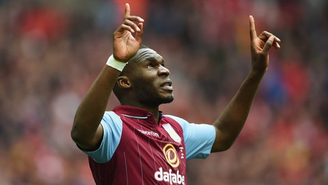 LONDON, ENGLAND - APRIL 19:  Christian Benteke of Aston Villa celebrates Aston Villa's first goal during the FA Cup Semi-Final match between Aston Villa and Liverpool at Wembley Stadium on April 19, 2015 in London, England.  (Photo by Michael Regan - The FA/The FA via Getty Images)