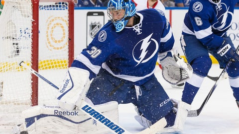 TAMPA, FL - APRIL 29: Goalie Ben Bishop #30 of the Tampa Bay Lightning makes a save against the Detroit Red Wings during the second period of Game Seven of the Eastern Conference Quarterfinals during the 2015 NHL Stanley Cup Playoffs at the Amalie Arena on April 29, 2015 in Tampa, Florida.  (Photo by Scott Audette/NHLI via Getty Images)