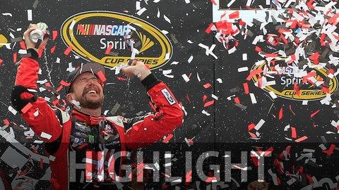 Apr 26, 2015; Richmond, VA, USA; Sprint Cup Series driver Kurt Busch (41) celebrates in Victory Lane after winning the Toyota Owners 400 at Richmond International Raceway. Mandatory Credit: Amber Searls-USA TODAY Sports