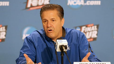 INDIANAPOLIS, IN - APRIL 02:  Head coach John Calipari of the Kentucky Wildcats addresses the media during a press conference before the 2015 NCAA Men's Final Four at Lucas Oil Stadium on April 2, 2015 in Indianapolis, Indiana. Kentucky plays Wisconsin on Saturday, April 4th.  (Photo by Streeter Lecka/Getty Images)