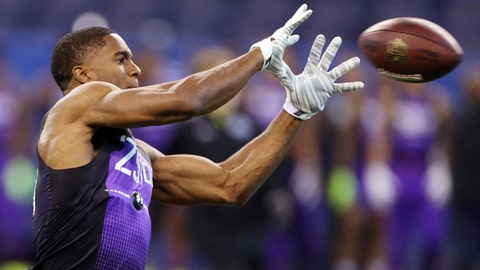 Feb 23, 2015; Indianapolis, IN, USA; Connecticut Huskies defensive back Byron Jones catches a pass in a work out drill during the 2015 NFL Combine at Lucas Oil Stadium. Mandatory Credit: Brian Spurlock-USA TODAY Sports