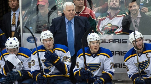 Apr 22, 2015; Saint Paul, MN, USA; St. Louis Blues head coach Ken Hitchcock looks on during the third period in game three of the first round of the 2015 Stanley Cup Playoffs against the Minnesota Wild at Xcel Energy Center. The Blues defeated the Wild 6-1. Mandatory Credit: Brace Hemmelgarn-USA TODAY Sports