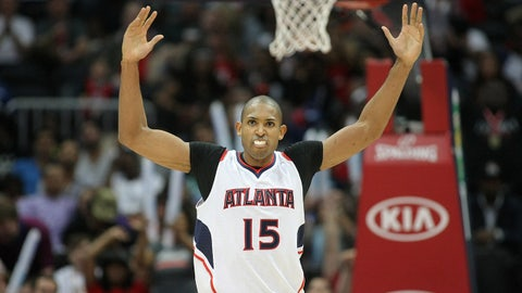 Apr 13, 2015; Atlanta, GA, USA; Atlanta Hawks center Al Horford (15) shows emotion against the New York Knicks in the fourth quarter at Philips Arena. The Knicks defeated the Hawks 112-108. Mandatory Credit: Brett Davis-USA TODAY Sports