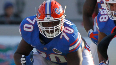 Nov 1, 2014; Jacksonville, FL, USA; Florida Gators offensive lineman D.J. Humphries (70) against the Georgia Bulldogs during the first half at EverBank Field. Mandatory Credit: Kim Klement-USA TODAY Sports