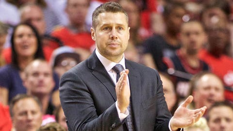 Apr 27, 2015; Portland, OR, USA; Memphis Grizzlies head coach David Joerger claps against the Portland Trail Blazers during the third quarter in game four of the first round of the NBA Playoffs at the Moda Center. Mandatory Credit: Craig Mitchelldyer-USA TODAY Sports