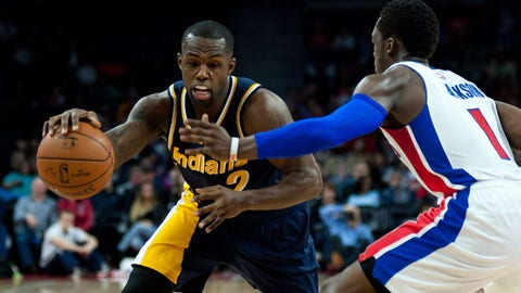 Apr 10, 2015; Auburn Hills, MI, USA; Indiana Pacers guard Rodney Stuckey (2) goes to the basket against Detroit Pistons guard Reggie Jackson (1) during the fourth quarter at The Palace of Auburn Hills. Pacers won 107-103. Mandatory Credit: Tim Fuller-USA TODAY Sports