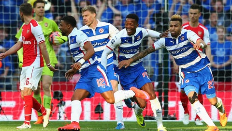 LONDON, ENGLAND - APRIL 18:  Garath McCleary of Reading (12) celebrates with team mates as he scores their first and equalising goal during the FA Cup Semi Final between Arsenal and Reading at Wembley Stadium on April 18, 2015 in London, England.  (Photo by Matthew Lewis/Getty Images)