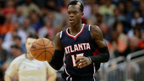 Mar 25, 2015; Orlando, FL, USA; Atlanta Hawks guard Dennis Schroder (17) drives to the basket against the Orlando Magic during the second half at Amway Center. Atlanta Hawks defeated the Orlando Magic 95-83. Mandatory Credit: Kim Klement-USA TODAY Sports