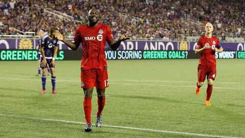 Apr 26, 2015; Orlando, FL, USA; Toronto FC forward Jozy Altidore (17) smiles and reacts after he scores a goal against the Orlando City SC during the second half at Orlando Citrus Bowl Stadium. Toronto FC defeated the Orlando City SC 2-0. Mandatory Credit: Kim Klement-USA TODAY Sports