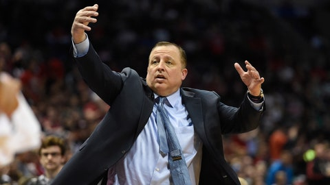 Apr 25, 2015; Milwaukee, WI, USA; Chicago Bulls head coach Tom Thibodeau calls a play in the second quarter during the game against the Milwaukee Bucks in game four of the first round of the NBA Playoffs at BMO Harris Bradley Center. Mandatory Credit: Benny Sieu-USA TODAY Sports