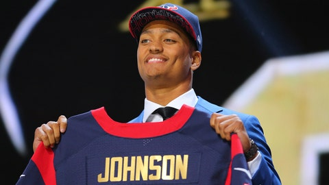 Apr 30, 2015; Chicago, IL, USA; Kevin Johnson (Wake Forest) poses for a photo after being selected as the number 16th overall pick to the Houston Texans in the first round of the 2015 NFL Draft at the Auditorium Theatre of Roosevelt University. Mandatory Credit: Dennis Wierzbicki-USA TODAY Sports
