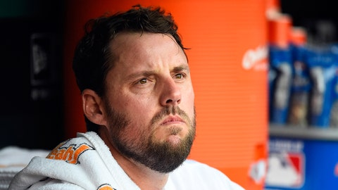May 7, 2015; St. Louis, MO, USA; St. Louis Cardinals starting pitcher John Lackey (41) sits in the dugout in the game against the Chicago Cubs at Busch Stadium. Mandatory Credit: Jasen Vinlove-USA TODAY Sports