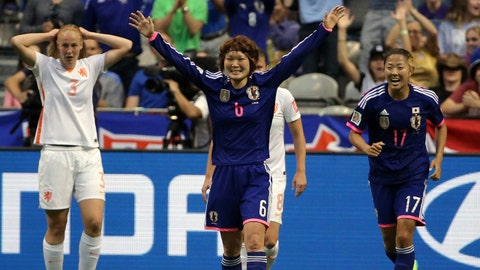 Jun 23, 2015; Vancouver, British Columbia, CAN; Japan midfielder Mizuho Sakaguchi (6) celebrates after scoring against the Netherlands during the second half in the round of sixteen in the FIFA 2015 women's World Cup soccer tournament at BC Place Stadium. Mandatory Credit: Matt Kryger-USA TODAY Sports