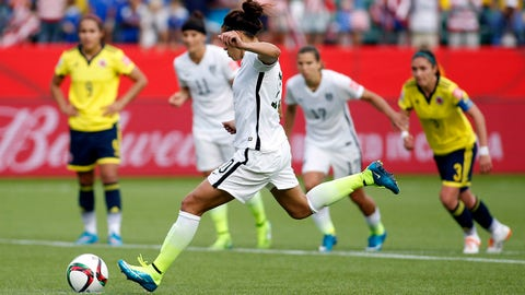 Jun 22, 2015; Edmonton, Alberta, CAN; United States midfielder Carli Lloyd (10) kicks a penalty kick during the second half against the Colombia in the round of sixteen in the FIFA 2015 women's World Cup soccer tournament at Commonwealth Stadium. Mandatory Credit: Erich Schlegel-USA TODAY Sports