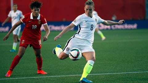 Jun 26, 2015; Ottawa, Ontario, CAN; United States forward Amy Rodriguez (8) kicks the ball against China midfielder Han Peng (18) in the quarterfinals of the FIFA 2015 Women's World Cup at Lansdowne Stadium. Mandatory Credit: Michael Chow-USA TODAY Sports