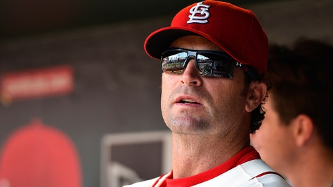 Jun 13, 2015; St. Louis, MO, USA; St. Louis Cardinals manager Mike Matheny (26) in the game between the St. Louis Cardinals and the Kansas City Royals at Busch Stadium. Mandatory Credit: Jasen Vinlove-USA TODAY Sports