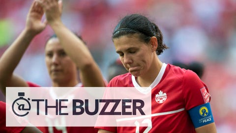 Canada's Christine Sinclair reacts to her team's 2-1 lose to England in a FIFA Women's World Cup quarterfinal soccer game in Vancouver, British Columbia, Canada, on Saturday, June 27, 2015. (Jonathan Hayward/The Canadian Press via AP) MANDATORY CREDIT