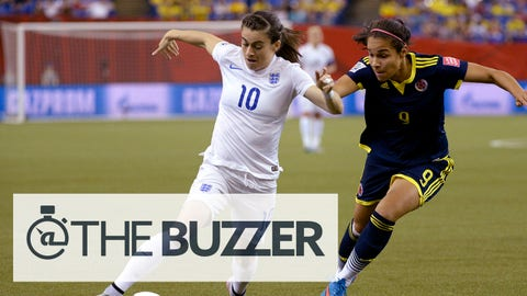 Colombia's Orianica Velasquez, right, chases England's Karen Carney as she dribbles down the field during the first half of a FIFA Women's World Cup soccer match, Wednesday, June 17, 2015, in Montreal, Canada. (Paul Chiasson/The Canadian Press via AP) MANDATORY CREDIT