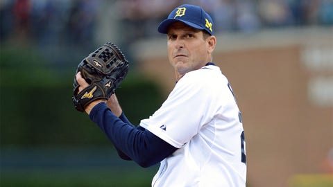 DETROIT, MI - JUNE 30:  University of Michigan head football coach Jim Harbaugh throws out the ceremonial first pitch prior to the Major League Baseball game between the Pittsburgh Pirates and the Detroit Tigers at Comerica Park on June 30, 2015 in Detroit, Michigan.  (Photo by Mark Cunningham/MLB Photos via Getty Images)