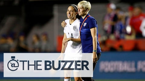 Jun 26, 2015; Ottawa, Ontario, CAN; United States midfielder Megan Rapinoe celebrates with midfielder Morgan Brian (14) after defeating China in the quarterfinals of the FIFA 2015 Women's World Cup at Lansdowne Stadium. United States won 1-0. Mandatory Credit: Michael Chow-USA TODAY Sports