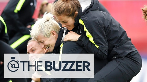 Jun 18, 2015; Edmonton, Alberta, Canada; United States defender Christie Rampone (bottom) holds up midfielder Megan Rapinoe (center) and defender Kelley O'Hara (top) while playing a game during practice at Clarke Stadium. Mandatory Credit: Michael Chow-USA TODAY Sports