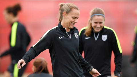 Jun 18, 2015; Edmonton, Alberta, Canada; United States defender Christie Rampone trains with her team during practice at Clarke Stadium. Mandatory Credit: Michael Chow-USA TODAY Sports