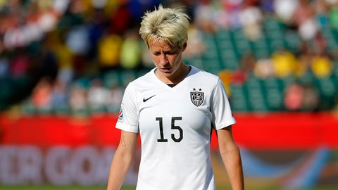 EDMONTON, AB - JUNE 22:  Megan Rapinoe #15 of the United States reacts in the first half while taking on Colombia in the FIFA Women's World Cup 2015 Round of 16 match at Commonwealth Stadium on June 22, 2015 in Edmonton, Canada.  (Photo by Kevin C. Cox/Getty Images)