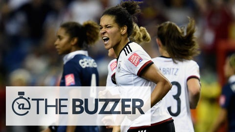 MONTREAL, QC - JUNE 26:  Celia Sasic of Germany celebrates as she scores their first goal from a penalty during the FIFA Women's World Cup Canada 2015 Quarter Final match between Germany and France at Olympic Stadium on June 26, 2015 in Montreal, Canada.  (Photo by Dennis Grombkowski/Bongarts/Getty Images)