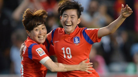 South Korea's Kim Sooyun (19) celebrates her goal with teammate Park Heeyoung during the second half of a FIFA Women's World Cup soccer match, Wednesday, June 17, 2015 in Ottawa, Ontario, Canada,  (Sean Kilpatrick/The Canadian Press via AP) MANDATORY CREDIT