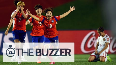 OTTAWA, ON - JUNE 17:  Soyun Ji of Korea celebrates with team mates after winning the FIFA Women's World Cup 2015 Group E match between Korea Republic and Spain at Lansdowne Stadium on June 17, 2015 in Ottawa, Canada.  (Photo by Lars Baron - FIFA/FIFA via Getty Images)