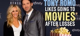 Tony Romo likes going to the movies after losses