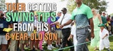 Tiger Woods getting tips from his 6-year-old son