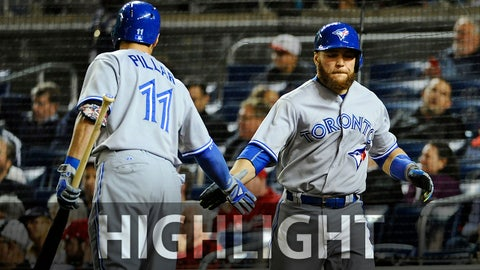 Jun 2, 2015; Washington, DC, USA; Toronto Blue Jays catcher Russell Martin (55) is congratulated by center fielder Kevin Pillar (11) after stealing home against the Washington Nationals during the seventh inning in game two of a double header at Nationals Park. Mandatory Credit: Brad Mills-USA TODAY Sports