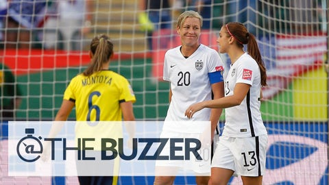 EDMONTON, AB - JUNE 22:  Abby Wambach #20 and Alex Morgan #13 of the United States talk on the pitch in the second half against Colombia in the FIFA Women's World Cup 2015 Round of 16 match at Commonwealth Stadium on June 22, 2015 in Edmonton, Canada.  (Photo by Kevin C. Cox/Getty Images)