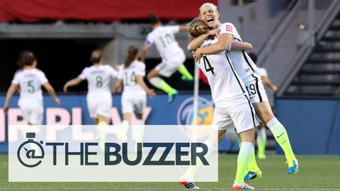 OTTAWA, ON - JUNE 26: Becky Sauerbrunn #4 and Julie Johnston #19 of the United States celebrate after a goal by Carli Lloyd #10 in the second half against China in the FIFA Women's World Cup 2015 Quarter Final match at Lansdowne Stadium on June 26, 2015 in Ottawa, Canada.  (Photo by Jana Chytilova/Freestyle Photo/Getty Images)