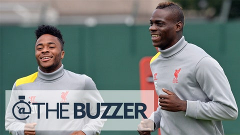 Liverpool's English midfielder Raheem Sterling (L) and Italian forward Mario Balotelli run during a training session at their Melwood training ground in Liverpool, north-west England, on September 15, 2014, ahead of their UEFA Champions League match against Ludogorets at Anfield. AFP PHOTO/PAUL ELLIS        (Photo credit should read PAUL ELLIS/AFP/Getty Images)