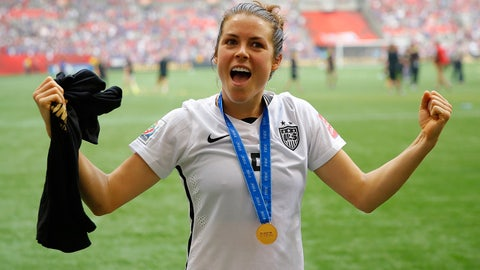 VANCOUVER, BC - JULY 05:  Kelley O'Hara #5 of the United States celebrates the 5-2 victory against Japan in the FIFA Women's World Cup Canada 2015 Final at BC Place Stadium on July 5, 2015 in Vancouver, Canada.  (Photo by Kevin C. Cox/Getty Images)