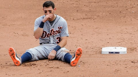 MINNEAPOLIS, MN - JULY 12: Ian Kinsler #3 of the Detroit Tigers reacts to being out at second base on a double play by the Minnesota Twins during the sixth inning of the game on July 12, 2015 at Target Field in Minneapolis, Minnesota. The Twins defeated the Tigers 7-1. (Photo by Hannah Foslien/Getty Images)