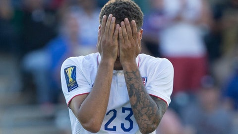 Jul 25, 2015; Chester, PA, USA; United States defender Fabian Johnson (23) reacts after missing his penalty kick in overtime against Panama in the CONCACAF Gold Cup third place match at PPL Park. Mandatory Credit: Panama wins on penalty kicks after a 1-1 draw. Bill Streicher-USA TODAY Sports