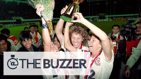 Michelle Akers-Stahl (C) who scored two goals for the US to win the first FIFA World Championship for Women's Football on November 30, 1991, holds the trophy together with teammates Julie Foudy (L) and Carin Jennings (R). The US won the championship by beating Norway 2-1. The FIFA Women's World Cup is recognized as the most important International competition in women's football and is played amongst women's national football teams of the member states of FIFA. Contested every four years, the first Women's World Cup tournament, named the Women's World Championship, was held in 1991, sixty-one years after the men's first FIFA World Cup tournament in 1930AFP PHOTO TOMMY CHENG (Photo credit should read TOMMY CHENG/AFP/Getty Images)