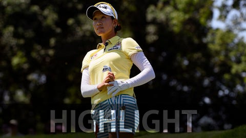 Jul 11, 2015; Lancaster, PA, USA; Chella Choi watches her shot on the twelfth hole during the third round of the 2015 U.S. Women's Open at Lancaster Country Club. Mandatory Credit: Kyle Terada-USA TODAY Sports