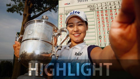 """LANCASTER, PA - JULY 12:  In Gee Chun of South Korea poses with the trophy as she takes a simulated """"Selfie"""" after winning the U.S. Women's Open at Lancaster Country Club on July 12, 2015 in Lancaster, Pennsylvania  (Photo by Scott Halleran/Getty Images)"""