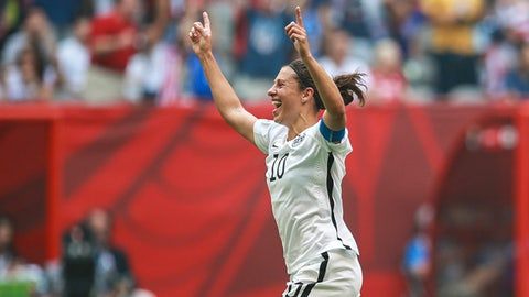 VANCOUVER, CANADA - JULY 05:  Carli Lloyd of USA celebrates after scoring during the FIFA Women's World Cup 2015 Final between USA and Japan at BC Place Stadium on July 05, 2015 in Vancouver, Canada.(Photo by William Volcov/LatinContent/Getty Images)